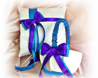 Regency purple and turquoise / malibu wedding ring pillow and flower girl basket.  Ceremony ring cushion and basket set.