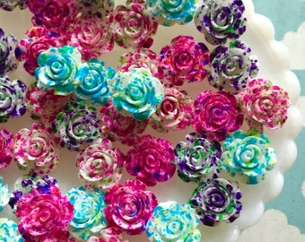 Mix Color Lot Resin Splatter Flower Cabochons - 15mm Rose Paint Splatter Cabochons 12 pcs.