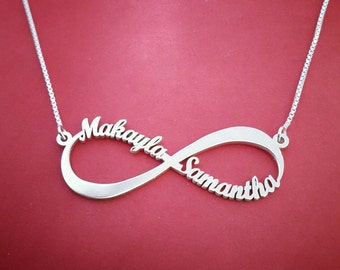 White Gold Infinity Necklace Mother Daughter Infinity Necklace Infinity Sign Necklace Infinity Name Necklace Infinity Necklace Infinity