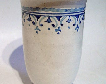 Vintage Italian Handpainted Ceramic Toothbrush Holder Penholder Ceramiche Luca Della Robbia Florence Italy