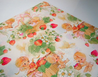 Vintage 1978 Baby Shower Wrapping Paper Red Green Strawberry Congratulations New Baby Gift Wrap