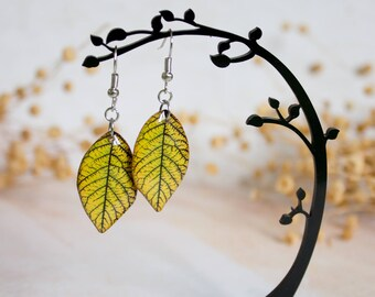 Yellow Resin Leaf - Leaf Earring - Leaves Earrings - Print Jewelry - For Nature Lovers - Nature Inspired