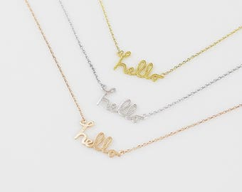 Dainty Lower case Hello Necklace . Hello Initial Necklace Delicate Everyday Necklace