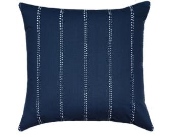 Outdoor Pillows, Navy STUFFED Outdoor Pillow, Navy Dotted Stripe Patio Pillows, Navy Pillow, Premier Prints Outdoor Carlo Oxford - Free Ship