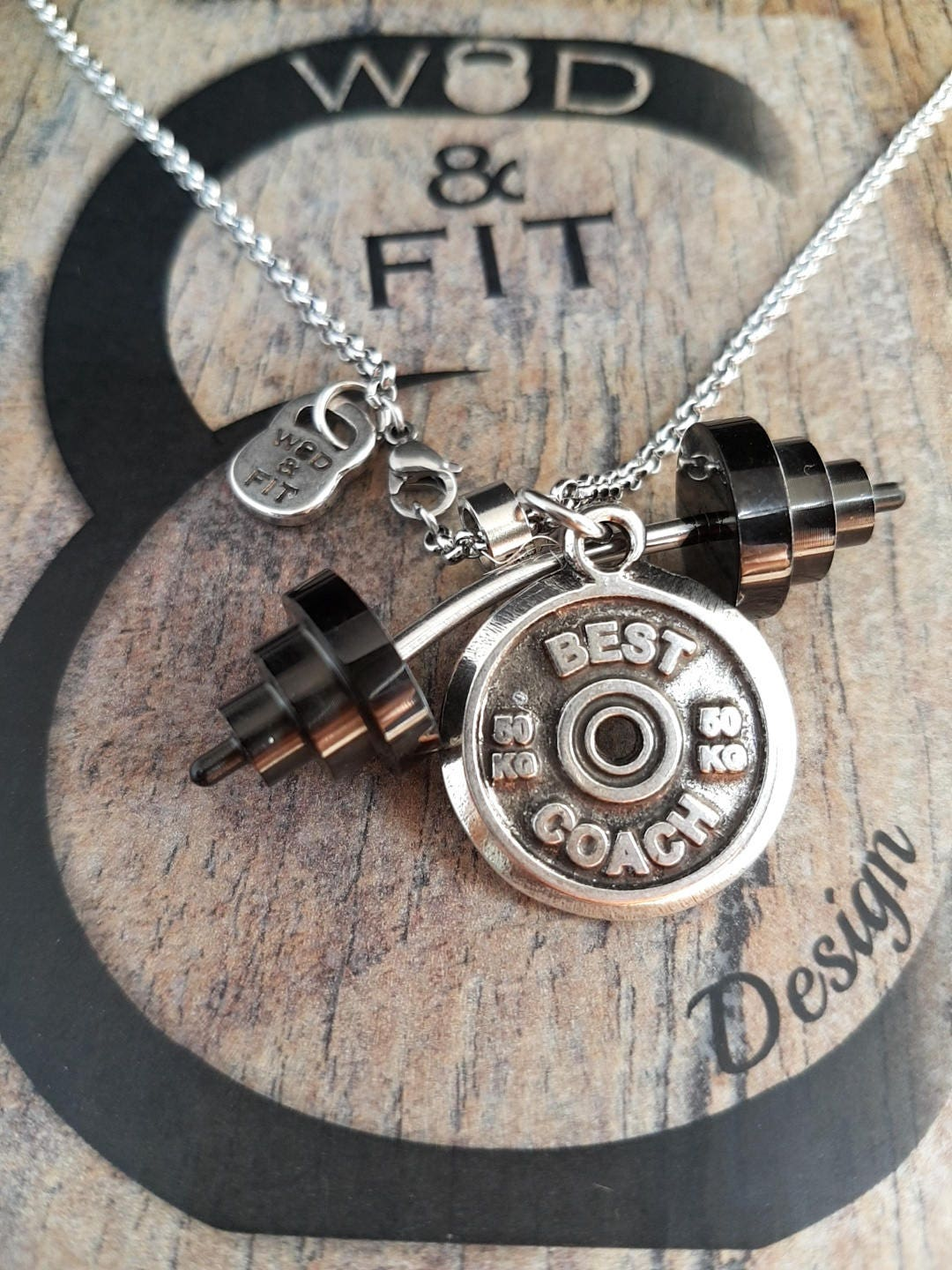 Necklace Power Clean Workout Barbell Black Gun & Motivational Weight ...