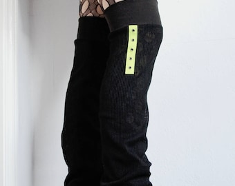 """Leg Warmers """"Lime Eyelets"""" - gothic punk green black knit over the knee"""