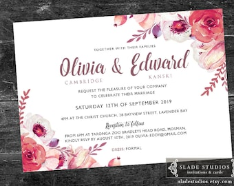 Wedding floral invitations printable. Pink, Burgandy Red, Mulberry watercolour floral.