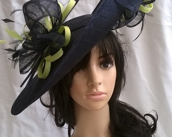 Sophia..Navy Blue & pale Lime Hatinator..Stunning  Sinamay Fascinator Hat on a Headband..Hatinator