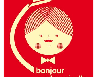 Bonjour mademoiselle red big print