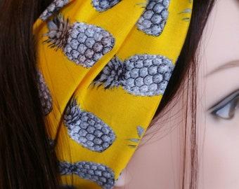 Hinged headband yellow Canary grey pineapple motif
