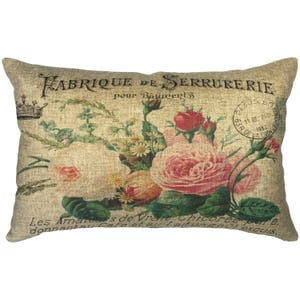 French Flowers Throw Pillow, Linen Lumbar Pillow, Cottage