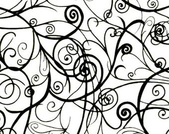 MODA - Half Moon - White with Black Swirls - 100% Cotton - Quilting Cotton 32350 11