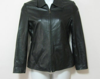 Black Leather Misses S/M Tagged M Zip Front Lined Black Leather Jacket Butter Soft Slash Pockets See Measurements