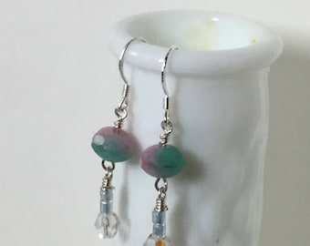 Pink and seafoam green two-tone fancy beaded earrings silver wire