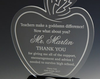 Teacher Apple Gift - Gifts for Teacher Personalized-Teacher Appreciation Week Gift - Teacher Gift Ideas - End of Year Teacher Plaque, ATA007