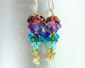 Multi Gemstone Earrings, Colorful Gemstone Earrings, Rainbow Gemstone Earrings Statement Earrings, Colorful Cluster Earrings Dangle Earrings