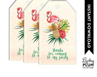 Tropical Thank You Card / Flamingo Thank You Card / Luau Thank You Card / Pineapple Thank You Card / Printable DIY