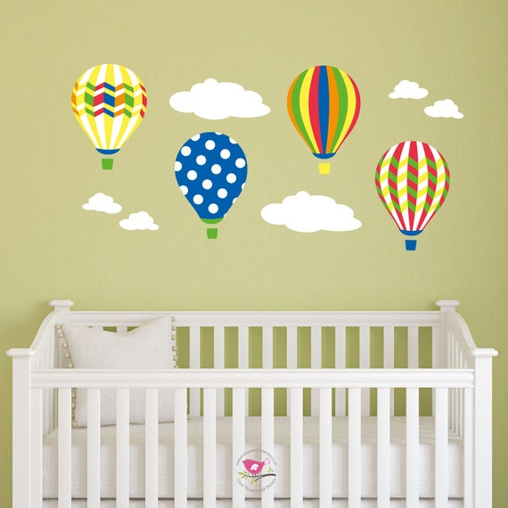 Hot Air Balloon Wall Stickers Rainbow decal Baby Decor
