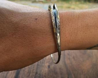 Seed Pod Bangle, Large, Silver and 18k Gold, Talisman of the Garden