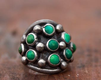 Rare Native American Old Pawn Vintage Zuni Sterling Silver Domed Cerrillos Turquoise Snake Eye Petit Point Cluster Knuckle Ring sz 6.5