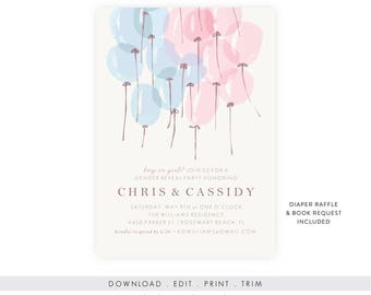 Printable Gender Reveal Invitation Download | Gender Reveal Invitation Template, Gender Reveal Printable, Diaper Raffle, Book Request