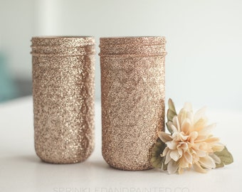Rose Gold Vases, Rose Gold Organizing Jars, Rose Gold Wedding Decor