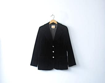 Vintage 70's black velvet blazer, velvet jacket, black blazer, women's size 8 / 10 medium