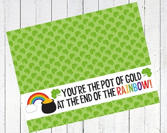 pot of gold rainbow bag toppers st patricks day st pattys day printable clover leaf - Pot of Gold Rainbow Bag Toppers Printable