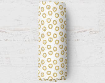 Organic Swaddle Blanket Gold Lion. Lion Organic Blanket. Baby Swaddle. Newborn Swaddle. Gauze Blanket. Lion Blanket.