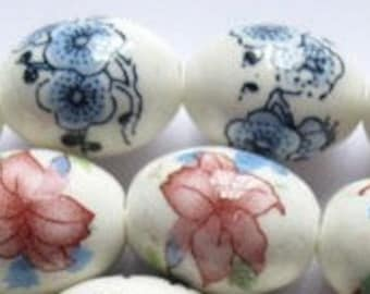 Porcelain Beads With Flowers, 2 Strand With 20 Beads Each Of 2  Colors, Pink And Blue.