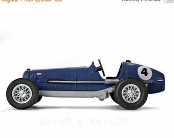 FLASH SALE til MIDNIGHT Navy Blue and Grey No.4 Vintage Race Car on White Background, One Photo Print, Boys Room decor, Vintage Car Prints