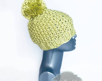 Green Knit Beanie with Pom, Chunky Seed Stitch Hat, Warm Yellow Green Winter Beanie With Puff, Pom Pom Knit Hat, Chartreuse Ski Cap