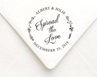 Spread The Love Stamp, Personalized Wreath Wedding Favors Stamp,