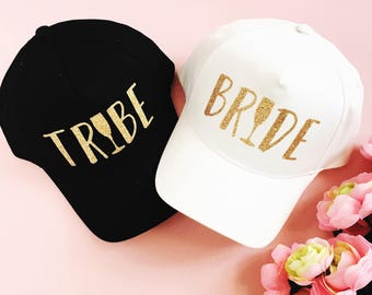 Champagne Bride and Tribe Hats - Bridal Trucker and Baseball Style Hats - Bach Bash Hats - Bridal Party Favors - Bridal Brunch Hats
