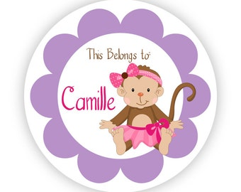Name Tag Stickers - Purple and Pink Little Girl Mod Monkey Personalized Name Label Tag Stickers - 20 Round Tags - Back to School Name Label