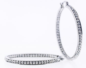 On Sale!  Stainless steel in and out crystals hoop earrings