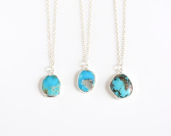 Raw Turquoise Necklace in Silver / Boho Natural Stone Necklace / December Birthstone Jewelry / Delicate Turquoise Pendant / Gift for Her