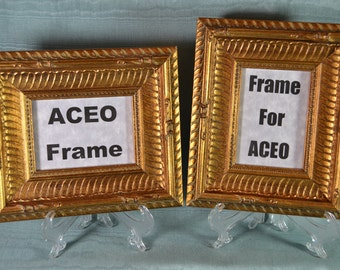 Pair of ACEO Picture Frames Antiqued Gold Ribbed Solid Wood Wallet size Photo Frames