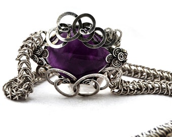 Amethyst Necklace, Statement Necklace, Silver Chainmaille Necklace, Gothic Necklace, Gemstone Necklace, Amethyst Jewelry