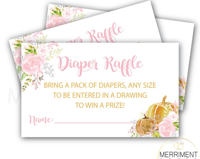 Little Pumpkin Diaper Raffle Ticket // Pumpkins // Roses // Peonies // Watercolor // Flowers / Gold // Instant Download // CARMEL COLLECTION