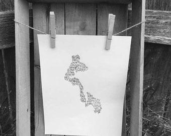 Typography Print. Handwritten. Art. State Art. Whidbey Island Art.8.5 X 11. Whidbey Island Wall Art. Whidbey Island Unique Gift