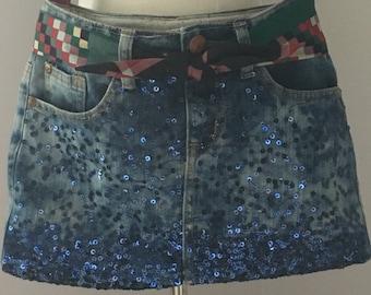 Denim Purse, Blue Jean Purse, Upcycled Denim Jeans, Shoulder Bag, Blue Sequin Denim Purse, Lined Purse with Inside Zip, Handmade Denim Purse