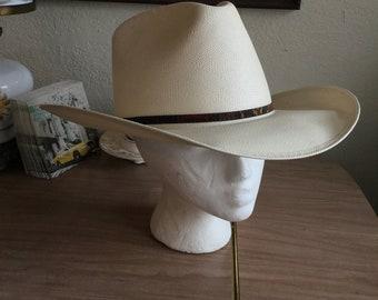 Vintage style shantung white straw Panama western cowboy hat (A388)