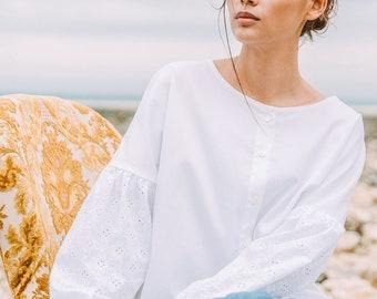 WHITE SHIZI - Chic white Blouse and casual in bi-material