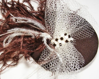 Brown and Cream Ostrich Feather Fascinator
