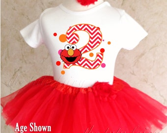 Elmo Chevron Red Orange Polka Dots Number 2 2nd Second Shirt & Tutu Set Girl Outfit Party Toddler Headband Custom Size Cake Smash