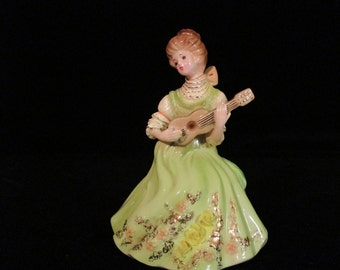 "Josef Originals ""Adeline"" Vintage Figurine Gibson Girls Series Girl  Sitting Down Playing Guitar Made in Japan"