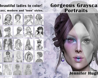 Gorgeous Grayscale Portraits | Digital Download| Grayscale coloring book | Grayscale portrait coloring book | Adult Coloring pages