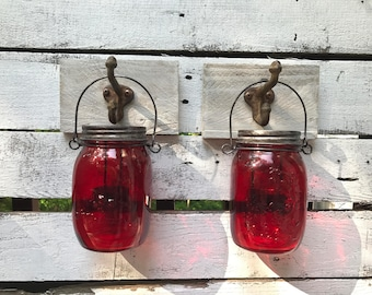 Pair of red tea light holders, wall decor, Christmas decor, pallet decor