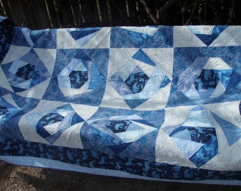 Handmade Quilt Twin Patchwork Cabin Sofa Throw in Blues, Moose and Squirrel Quiltsy